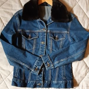 Denim Jacket With Removable Faux Fur Collar